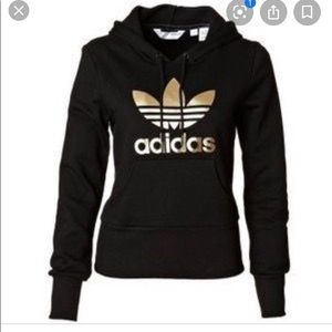 Gold and Black Adidas Hooded Sweatshirt Size L